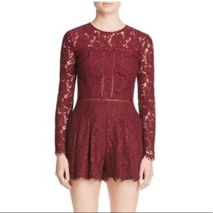 Mustard Seed Burgundy Lace Long Sleeve Romper M